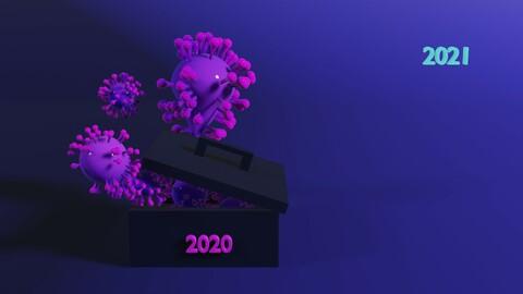 3D Illustration Covid19 in 2020