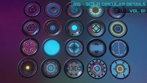20 Sci-fi Circular Emission Decal Pack, with BOUNCE light. Decal Machine 2.1 Ready, 2048 RESOLUTION!!!