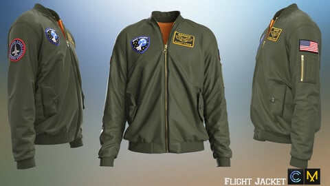Flight Jacket, marvelous designer,clo3d