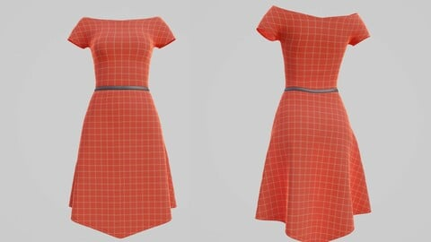 female checkered dress - 3D model