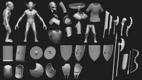 🟥High Poly Goblin Warrior Pack [29 items]