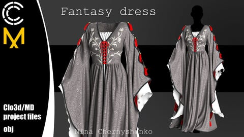 Fantasy dress. Marvelous Designer, Clo3d project + OBJ.