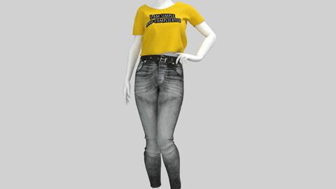 Denim Jeans with yellow T-Shirt Marvelous Designer , Clo 3D
