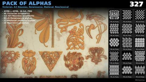 Pack of 300+ alphas - Victorian, Art Nouveau, Renaissance, Medieval, Neoclassical (PNG)
