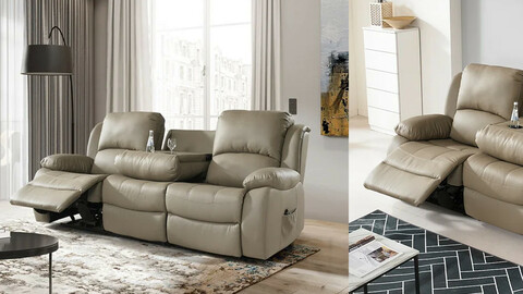 Rio electric recliner 3-seat leather sofa