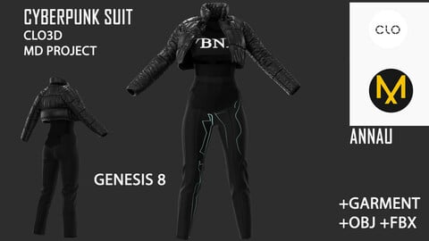 GENESIS 8 FEMALE CYBERPUNK SET: CLO3D, MARVELOUS DESIGNER PROJECT+GARMENT FILE| +OBJ +FBX