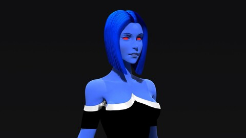 Chiss Woman Character 3D Model Zbrush and Maya