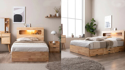 Four-ten LED 4-tier storage wooden bed (excluding mat) SS/Q