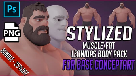 STYLIZED Leonidas Muscle|Fat Body for base ConceptART