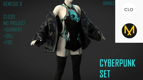 GENESIS 8 FEMALE CYBERPUNK ASIAN SET: CLO3D, MARVELOUS DESIGNER PROJECTS+GARMENT FILES| +OBJ +FBX