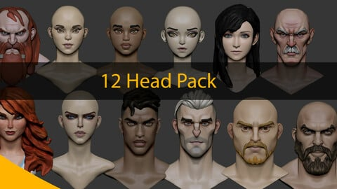 12 Head Stylized Pack