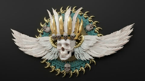 Aztec Skull King with wings