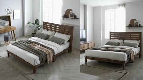 Luke rubberwood bed frame (SS/Q)