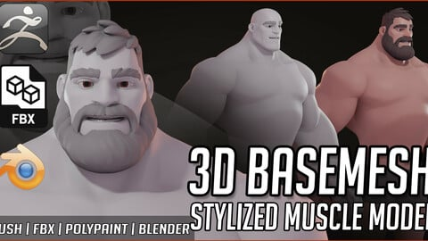 Basemesh LEONIDAS Muscle Stylized Male
