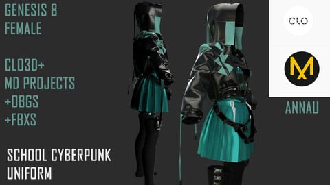 GENESIS 8 FEMALE: SUIT: STYLED SCHOOL CYBERPUNK UNIFORM: CLO3D, MARVELOUS DESIGNER PROJECTS+| +OBJ +FBX