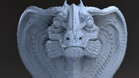 Snake Dragon BUST  STL for 3d printing.