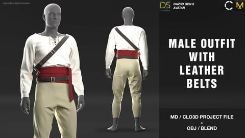 Male outfit with leather belts. MD/Clo3d project + OBJ + .BLEND file