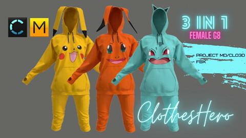 Suit Pokémon female (hoodie + pants)