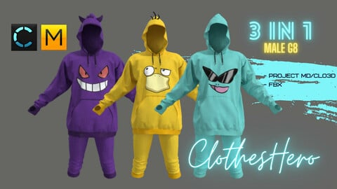 Suit Pokémon male (hoodie + pants)
