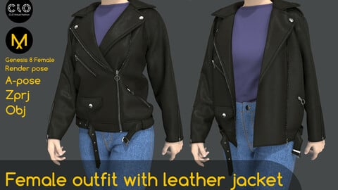 Female outfit with leather jacket. Clo3d, Marvelous Designer projects.
