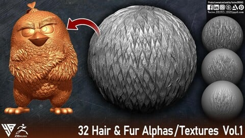 32 Hair & Fur Alphas / Textures Vol 01