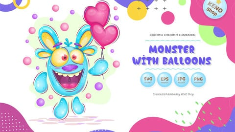 Monster with balloons