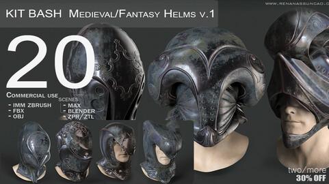KitBash 20 Medieval/Fantasy Helmets IMM - .obj/.fbx/.zpr./.blend/.max