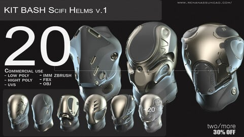 IMM 20 Scifi Helmets KitBash with Uvs - Plus LP+HP) .obj/.fbx