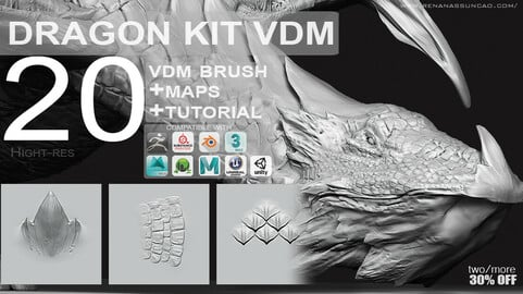 VDM - Easy Dragon Reptile Texture KIT + Full Maps