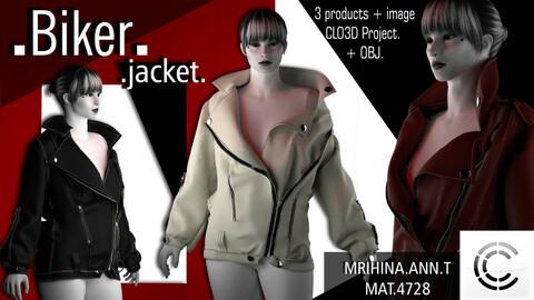 .Biker jacket. CLO3D + MD.