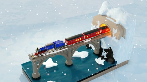 Retro train winter road