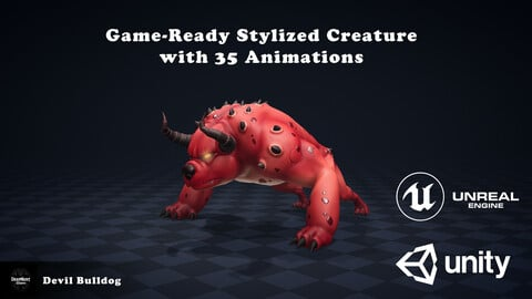 Game-Ready Stylized Devil Bulldog with 35 Animations
