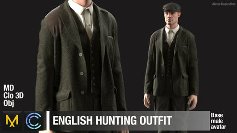 English hunting outfit / Marvelous Designer / Clo 3D project + obj