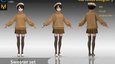 Sweater Clothes/Uniform/Outfit_Girl brown swerater & Hat & Shoes_Marvelous Designer, CLO3D