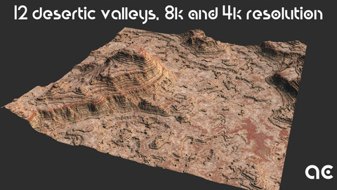 Desertic Valleys Collection | 12 Terrains at 8k resolution, Height map+Texture+Mesh