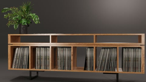 Vinyl LP Storage with Record Player Stand No1
