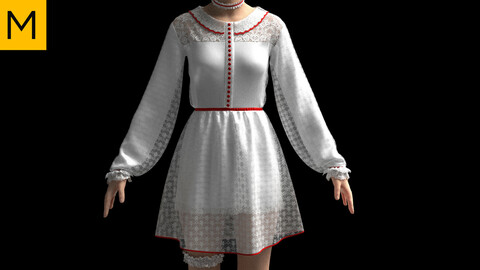 Womens clothing. Marvelous Designer, Clo3d project + OBJ/FBX files. Standard avatar MD&CLO.