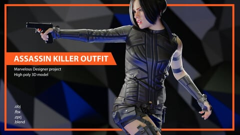 Assassin Killer Female Outfit. Marvelous Designer, Clo3D project. obj, fbx, blend files
