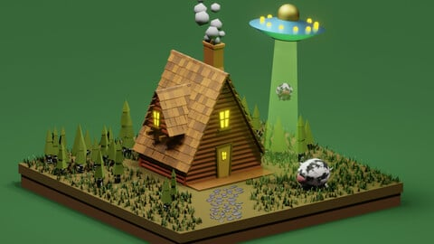 3D Model Scene Summer House with UFO