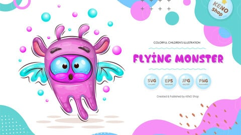 Cute cartoon flying monster
