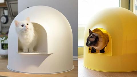Igloo toilet white (cat toilet + sand shovel)