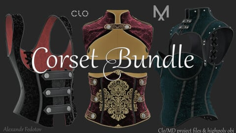Corset Bundle. Clo/MD project file + highpoly obj