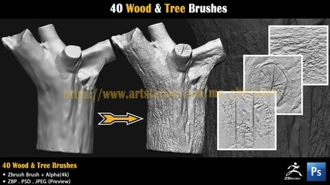 40 Wood & Tree Brushes