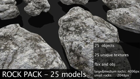ROCK PACK - 25 Rock Models - PBR