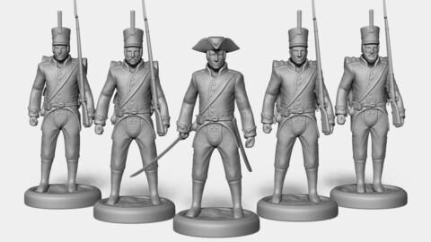 🟥 Line Infantry Squad Figurines [3D print models]