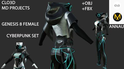 GENESIS 8 FEMALE CYBERPUNK SET # 2: CLO3D, MARVELOUS DESIGNER PROJECTS+| +OBJ +FBX