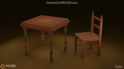 Game Assets / 3D Low Poly Objects Model / Table & Chair