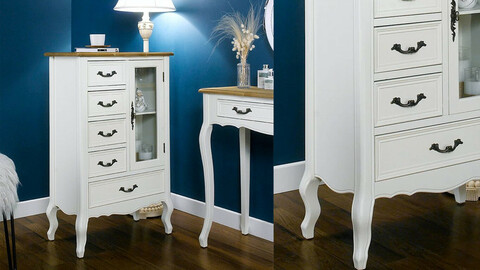 Wooden chest of drawers showcase