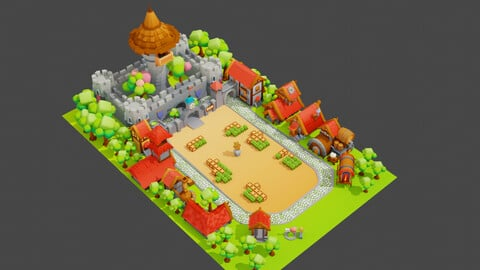 Low Poly Fantasy Town Pack - Unity