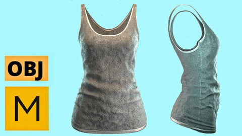 Marvelous designer project + obj : female tank top